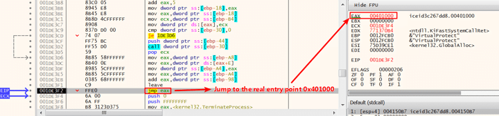 Figure 3. Jump back to the real entry point 0x401000