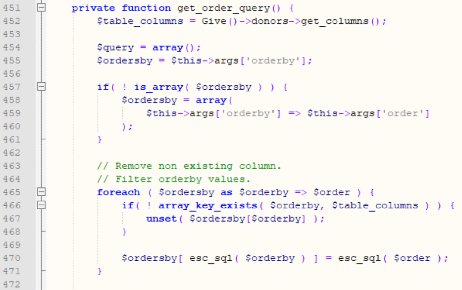 Figure 13: Vulnerable code in Give Plugin