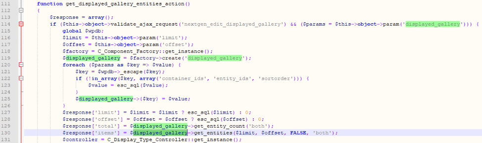 Figure 7: User-supplied input being processed in get_displayed_gallery_entities_action