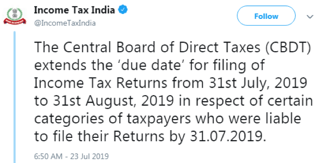 India's Income Tax Department's Announcement for the ITR Filing Extension