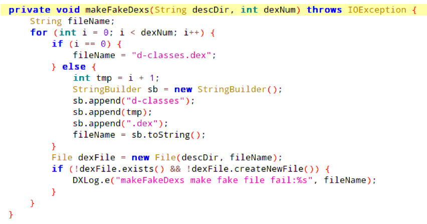 Figure 1: Creation of fake Dex files