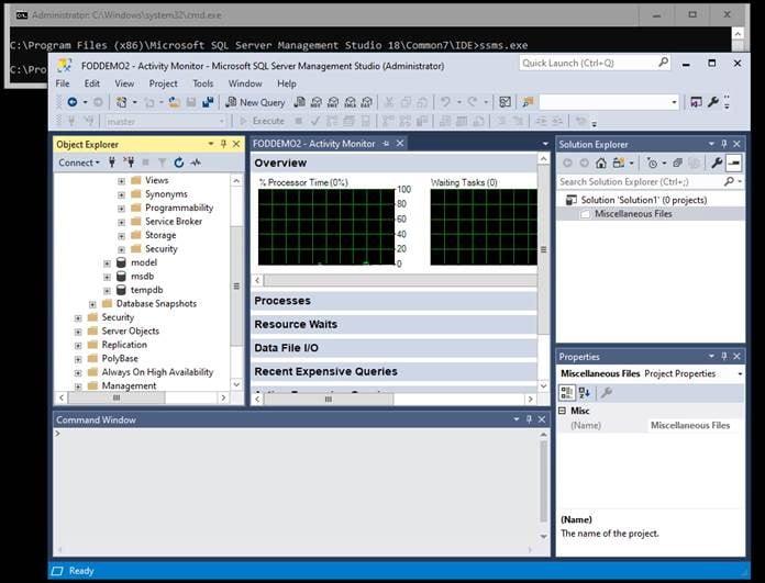 Screenshot of SQL Server with SQL Management Studio