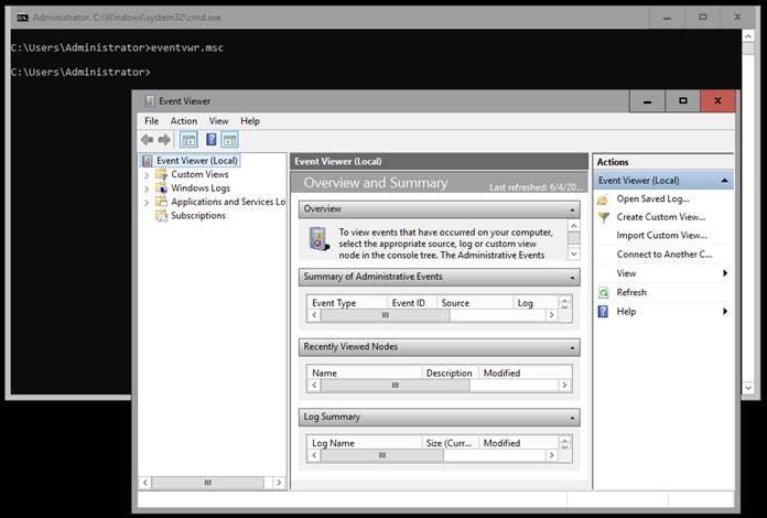 Screenshot of Windows Event Viewer