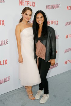 "LOS ANGELES, CA - AUGUST 09: Debby Ryan and Vice President, Content Aquisition at Netflix Bela Bajaria attend Netflix's ""Insatiable"" Premiere And After Party on August 9, 2018 in Los Angeles, California. (Photo by Rachel Murray/Getty Images for Netflix) *** Local Caption *** Debby Ryan;Bela Bajaria"