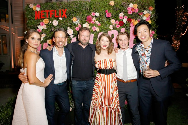 "LOS ANGELES, CA - AUGUST 09: Debby Ryan, Christopher Gorham, Dallas Roberts, Kimmy Shields, Michael Provost and Daniel Kang attend Netflix's ""Insatiable"" Premiere And After Party on August 9, 2018 in Los Angeles, California. (Photo by Rachel Murray/Getty Images for Netflix) *** Local Caption *** Debby Ryan, Christopher Gorham, Dallas Roberts, Kimmy Shields, Michael Provost;Daniel Kang"
