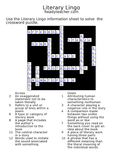 Crossword Puzzle (Literary Lingo Answer Key
