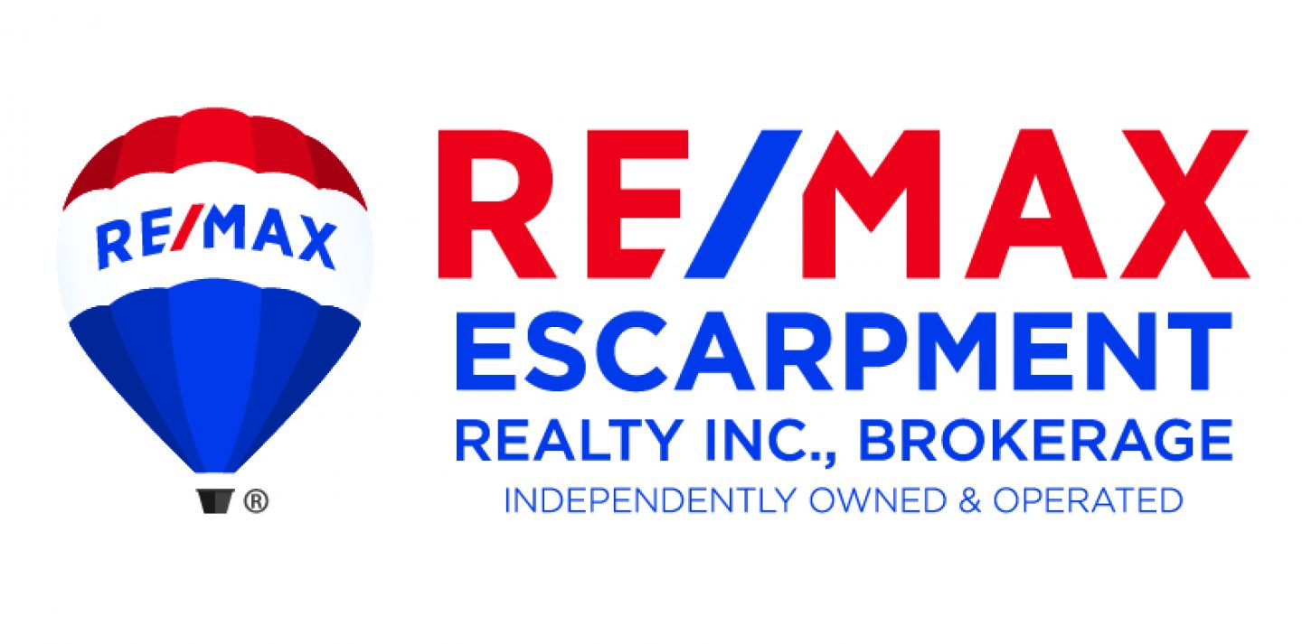 cropped Remax Escarpment Stacked Logo Red and Blue w Balloon CMYK 300dpi - Recently SOLD in St. Catharines