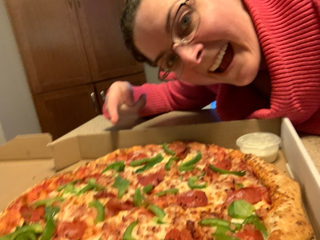 Andrea and Pizza - Moving Day Pizza- My Treat!