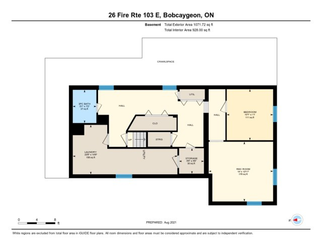 901 26 fire rte 103 bobcaygeon ON floor plan basement - WATERFRONT ~ 4 SEASON COTTAGE FOR SALE ON PIGEON LAKE