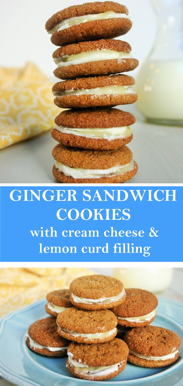 Ginger sandwich cookies with cream cheese and lemon curd filling
