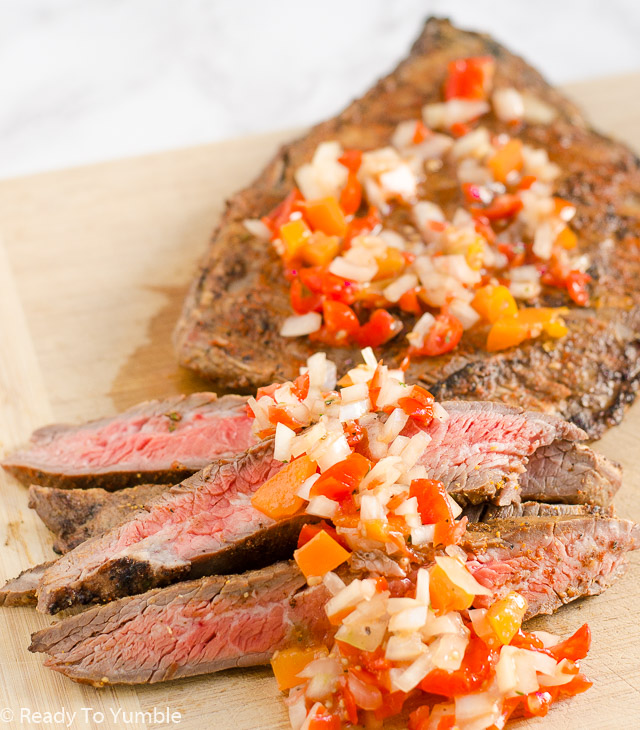 Argentine Grilled Flank Steak is an easy make-ahead dinner, with a salty-sweet rub that sits on the steak overnight before a quick grilling.  The flavor-packed Salsa Criolla puts it over the top!