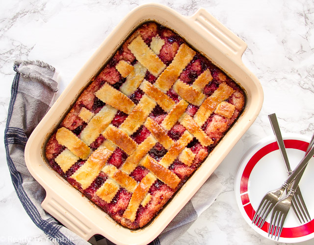 This Cherry Lattice Coffee Cake looks gorgeous, tastes scrumptious, and even freezes beautifully! Make it ahead of time and have your holiday breakfast ready in a snap.