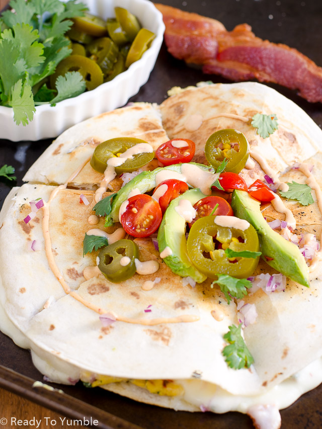 This Breakfast Quesadilla with Chipotle Sour Cream is just what you need the morning after a really good party - or any morning when you want a cheesy, spicy, Tex-Mex brunch.