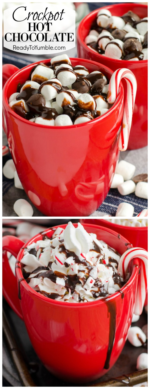 Crockpot Hot Chocolate is the easiest way to make a big batch of everyone's favorite holiday drink. Perfect for parties, or any time you want a super rich and creamy cup of chocolate.