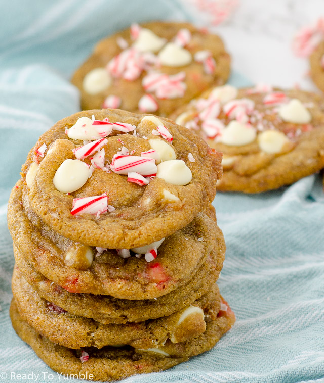 Chewy White Chocolate Candy Cane Cookies