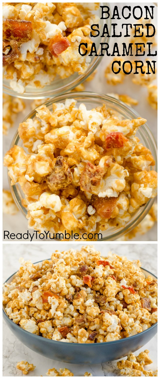 Bacon Salted Caramel Corn is the perfect sweet and savory snack.