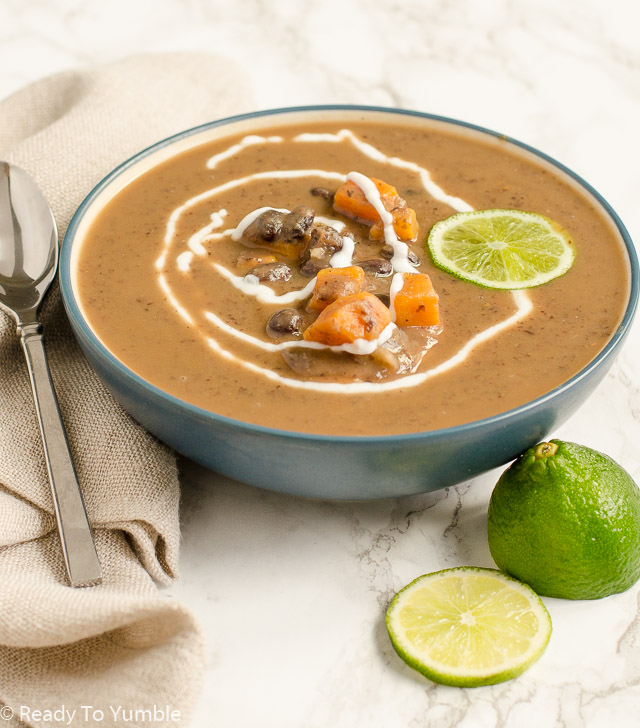 Black Bean and Sweet Potato Soup will keep you warm and cozy in the last days of winter. It's perfect for a starter or main,with some unexpected spices for maximum flavor!