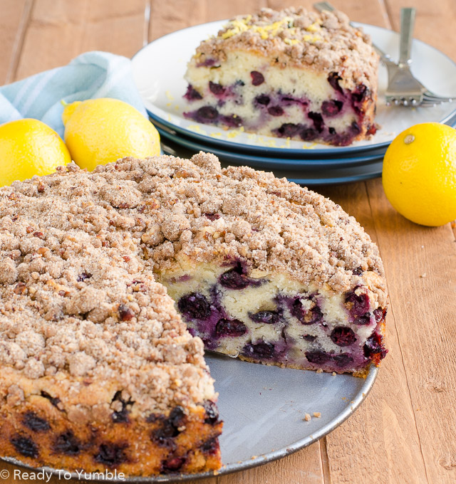 Blueberry Muffin Cake, an easy blueberry-laced confection with a crunchy streusel topping, is delicious served for brunch or dessert!