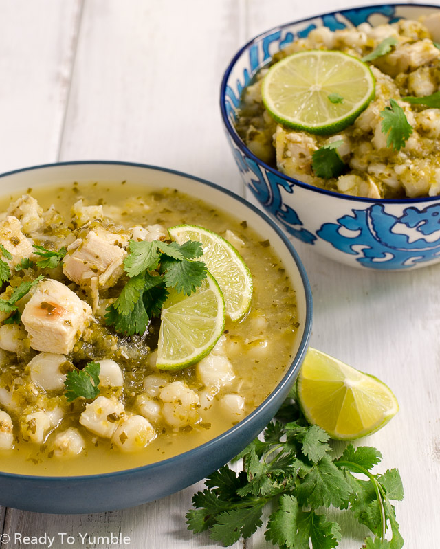 Chicken Posole Verde is a surprisingly flavorful chicken stew with a toothsome bite. Easy and delicious for lunch or dinner!
