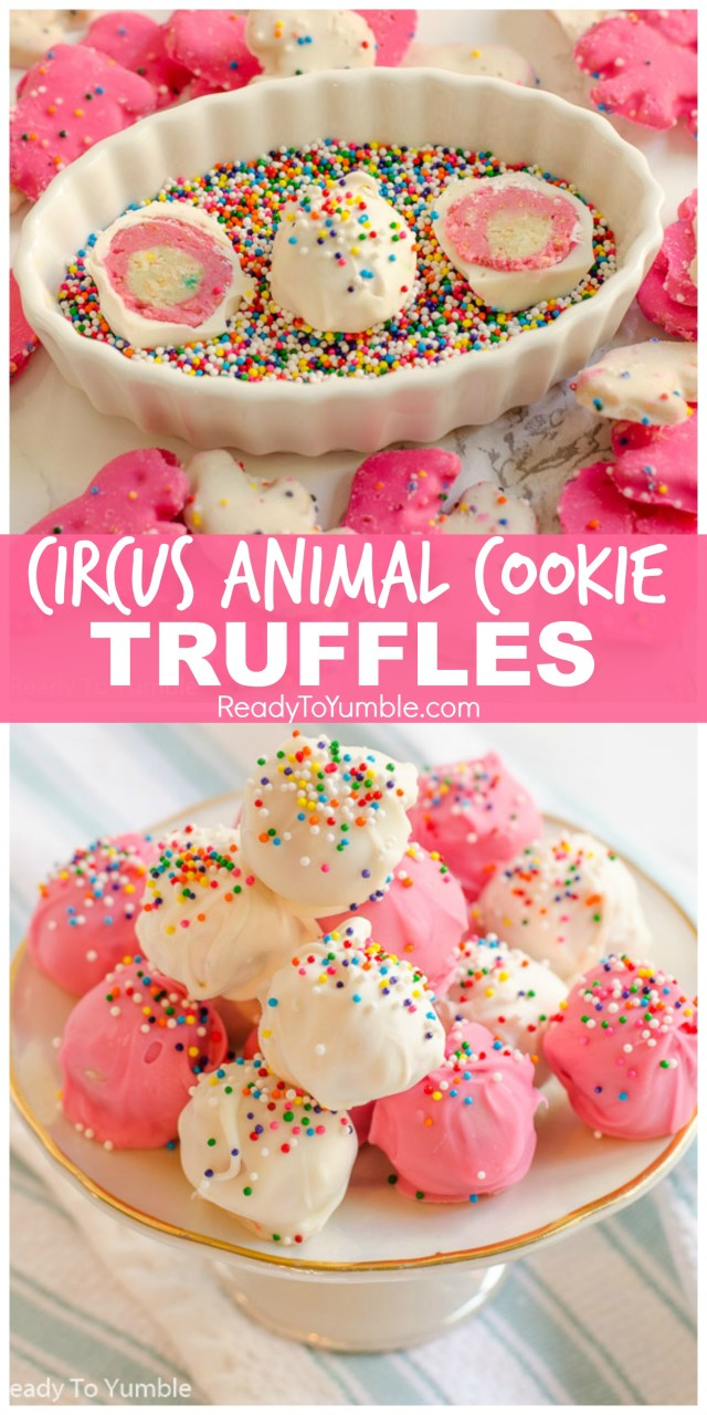 Circus Animal Cookie Truffles are a fun and colorful no-bake dessert, with a pink-and-white layered surprise inside!