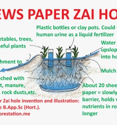 news paper zai hole about 20 sheets of news paper at the base of the hole form a slowly permeable barrier this theoretically holds water and nutrients in  [ 2322 x 1601 Pixel ]