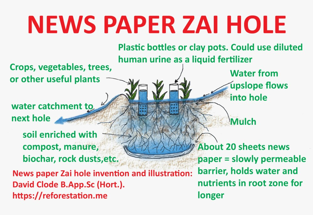 medium resolution of news paper zai hole about 20 sheets of news paper at the base of the hole form a slowly permeable barrier this theoretically holds water and nutrients in
