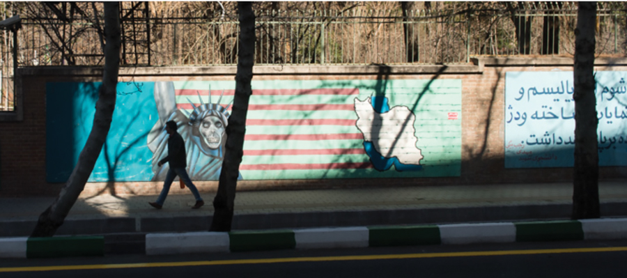 Anti-American murals are still evident on the streets.