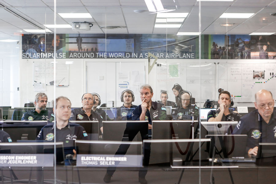 Hawaii, USA, April 9th 2016: The Mission Control Center in Monaco is working hard to ensure that Bertrand Piccardís last training flight is well accomplished. Departed from Abu Dhabi on march 9th 2015, the Round-the-World Solar Flight will take 500 flight hours and cover 35í000 km. Swiss founders and pilots, Bertrand Piccard and AndrÈ Borschberg hope to demonstrate how pioneering spirit, innovation and clean technologies can change the world. The duo will take turns flying Solar Impulse 2, changing at each stop and will fly over the Arabian Sea, to India, to Myanmar, to China, across the Pacific Ocean, to the United States, over the Atlantic Ocean to Southern Europe or Northern Africa before finishing the journey by returning to the initial departure point. Landings will be made every few days to switch pilots and organize public events for governments, schools and universities.