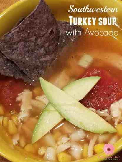 Warm up with a bowl of hot soup. This Southwestern Turkey Soup with Avocado Recipe is so easy and so tasty.