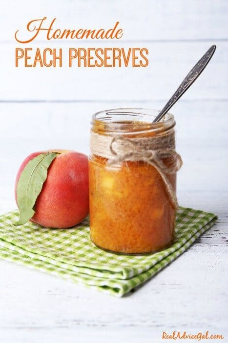 Homemade Peach Preserves with fresh peaches. Delicious and easy to make.