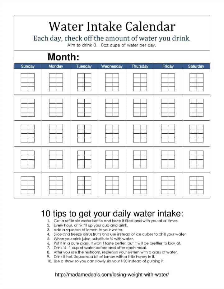 Water Intake Calendar madamedeals1