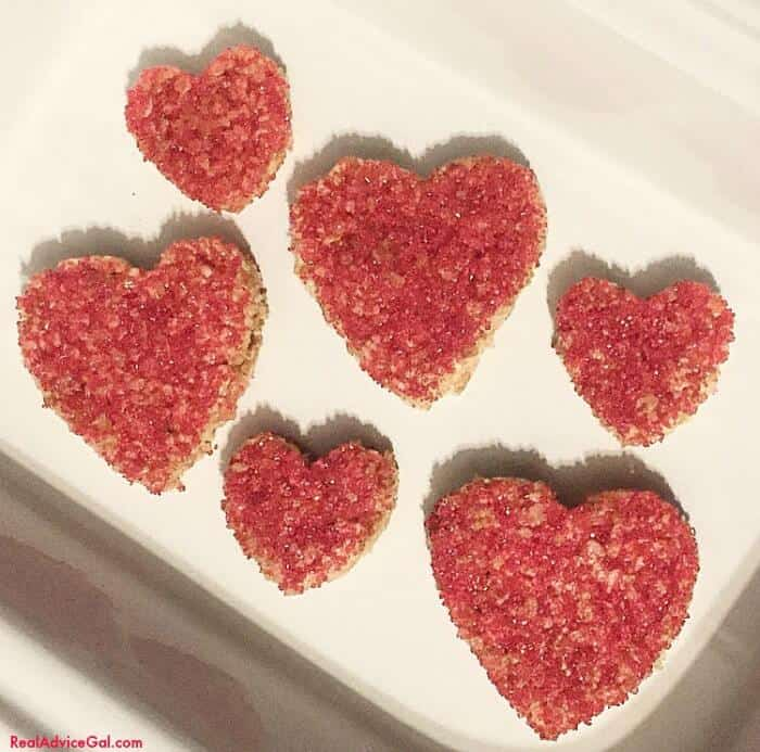 Heart Shaped Rice Krispies for Valentine's day