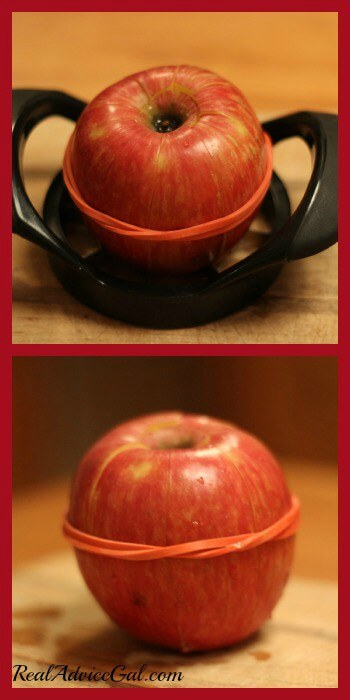 Life Hacks apple slicer and rubberband around apple to keep apple slices from getting brown