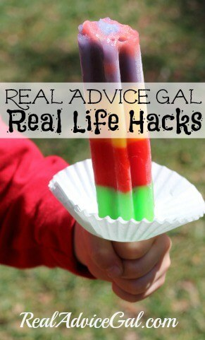 Real Advice Gal Real Life Hacks use a cupcake liner to catch melting popscicle messes