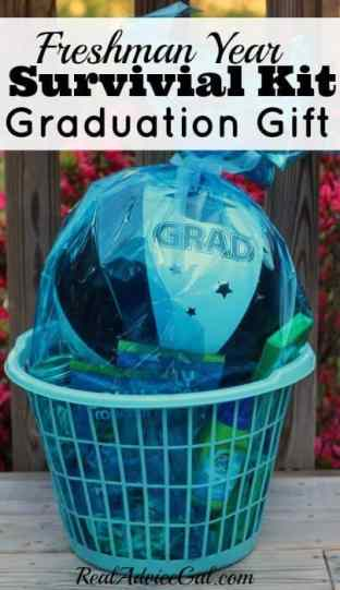 Freshman Survival Kit Graduation Gift all wrapped up
