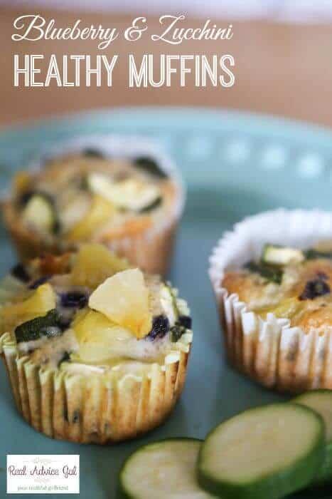 Blueberry Zucchini Healthy Breakfast Muffins