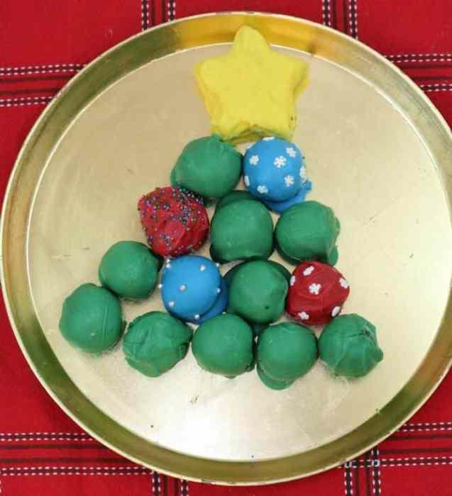 Oreo Cookie Balls Christmas Tree on a service tray
