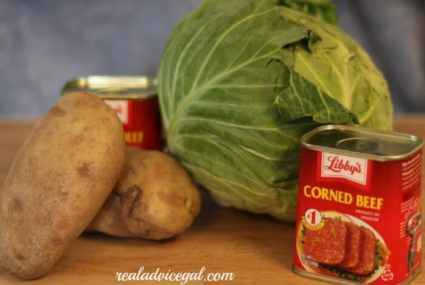 ingredients for making corned beef cabbage and potatoes