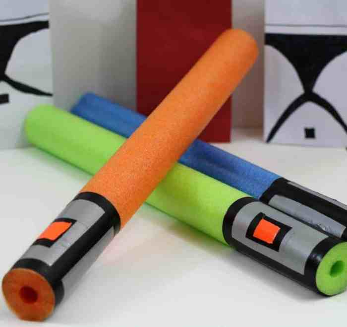 Light sabers made out of pool noodles are the perfect party favor for any Star Wars themed party. Add them to your list of Star Wars Birthday Parties Ideas