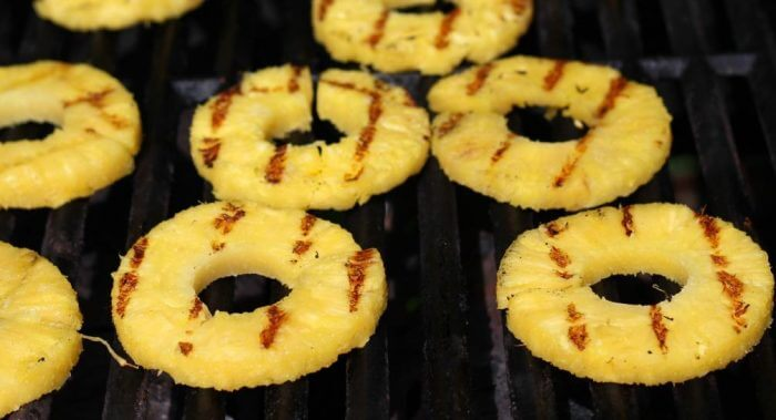 Pineapple slices on the grill