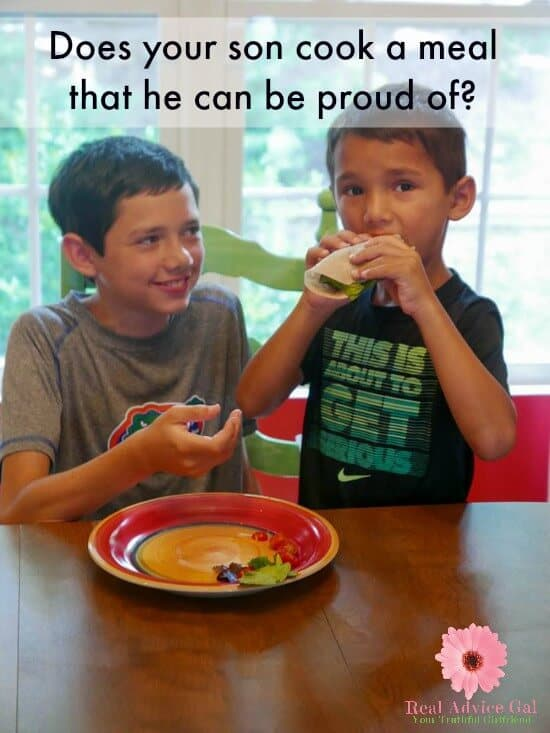 Does your son cook a meal that he can be proud of?
