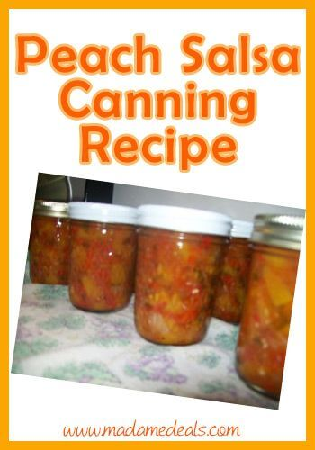 Peach Salsa canning recipe with fresh diced peaches, tomatoes, red onions, red pepper, cilantro, jalapeno and lime juice.