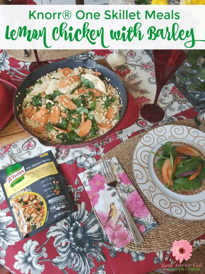 Knorr one skillet meals are super easy to make. You have to try this Lemon Chicken with Barley, it's so good and perfect for stay at home date night. Knorr one skillet meals are made from ancient grains and spices that will make cooking meals super easy.