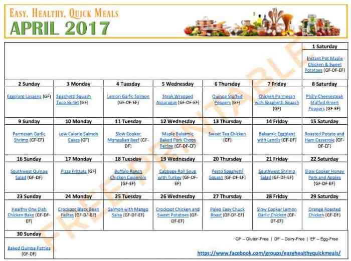 Easy and Healthy Meal Plans for Dinner April 2017
