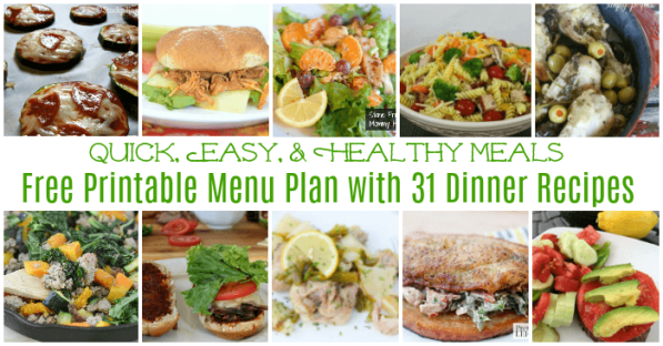 Prepare healthy dinner for the family that's easy to prepare and delicious. Check out these 31 yummy recipes in our July free printable menu calendar.