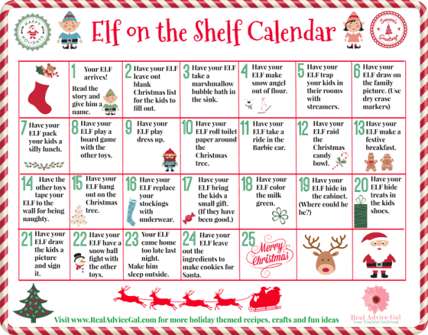 Get your Elf ready for Christmas. Have fun and plan your Elf's fun and mischievous pranks with this free printable elf on the shelf calendar of ideas.