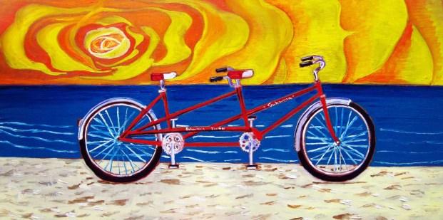 red tandem bicycle bike painting