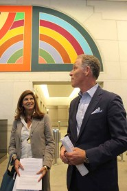 Brett Greenberg, Executive Managing Director at Jack Resnick & Sons (right), shares the history of the Frank Stella lobby art at 199 Water Street along with Cindy Farkas Glanzrock of Glanzrock Curatorial Services.