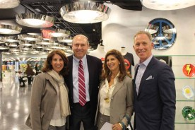 (left to right) Newmark Knight Frank's Leslie Harwood, ABS Partners' Gregg Schenker, Glanzrock Curatorial Services' Cindy Farkas Glanzrock, and Jack Resnick & Sons' Brett Greenberg during the cocktail hour at 10 Corso Como following the art walk tour.