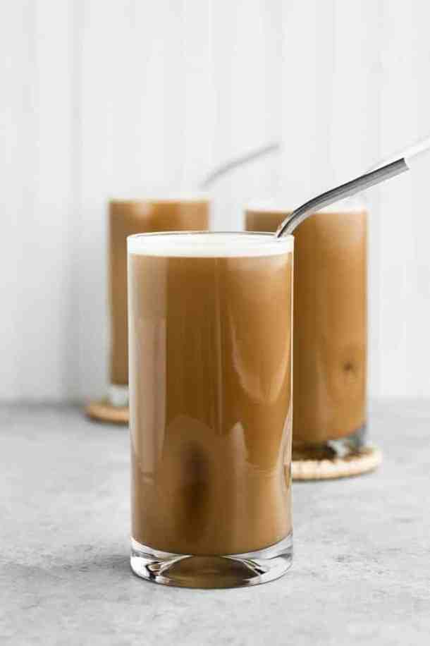 three-glasses-of-Nut-Free-Dairy-Free-Creamy-Cold-Brew-Keto-Coffee-with-straws